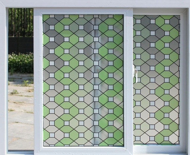 Stainded glass window film colours self adhesive decorative frosted privacy decals width 45cm 60cm