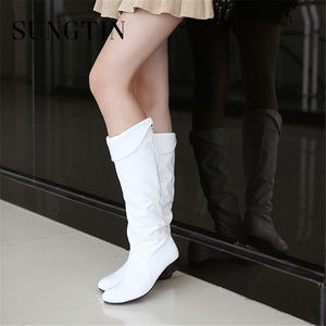 Image 4 - Sungtin 2019 Hot Sale Women PU Leather Knee High Boots Fashion Classic Flat Boots Ladies Autumn Winter Shoes Basic Long Boots