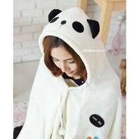 Coral Velvet Cape Plush Toy Catoon Panda Cos Shawls Otaku Cloaks Leisure Blanket Air Conditioning Blankets 160X90cm Size