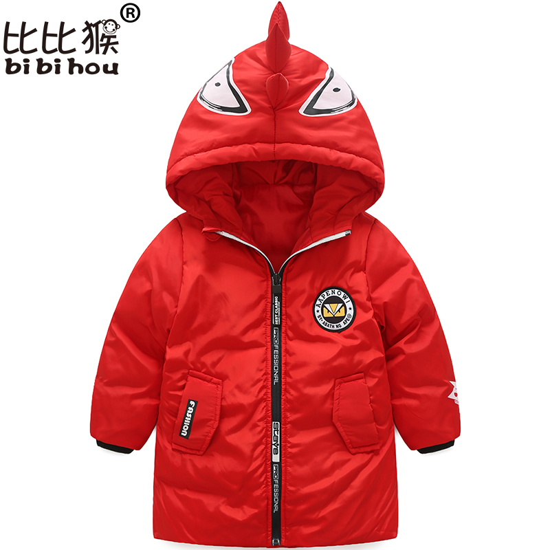 Bibihou Fashion outerwear Dinosaur Hooded Girl Down jackets for boys snowsuit Parka Winter Children Clothing snow wear kids coat 2016 winter boys ski suit set children s snowsuit for baby girl snow overalls ntural fur down jackets trousers clothing sets