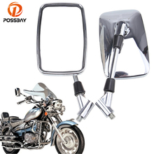 Posbay 10 мм хромированные moto rcycle зеркала Кафе Racer зеркала заднего вида для Honda Yamaha Suzuki Harley Kawasaki retrodriver moto