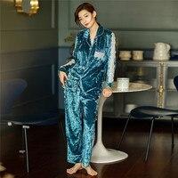 Women Shining Pajama Sets 2 Pieces Velour Long Sleeve Long Pants Pajamas Autumn Winter Casual Home Clothes Luxury Sleepwear