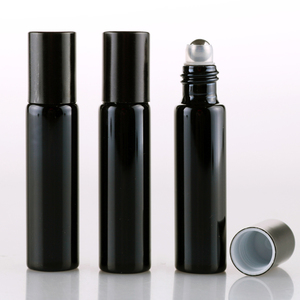 Image 3 - 100 Pieces/Lot 10ML Refillable Black UV Glass Perfume Bottle With Roll On Empty Essential Oil  Vial For Traveler