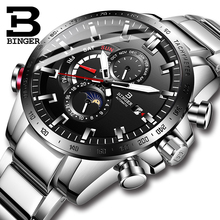 Switzerland BINGER Watch Men Automatic Mechanical Luxury Brand Men Watches Sapphire Men Watch Waterproof relogio masculino B8-1 switzerland binger brand men automatic mechanical watches luminous waterproof full steel belt energy display male fashion watch