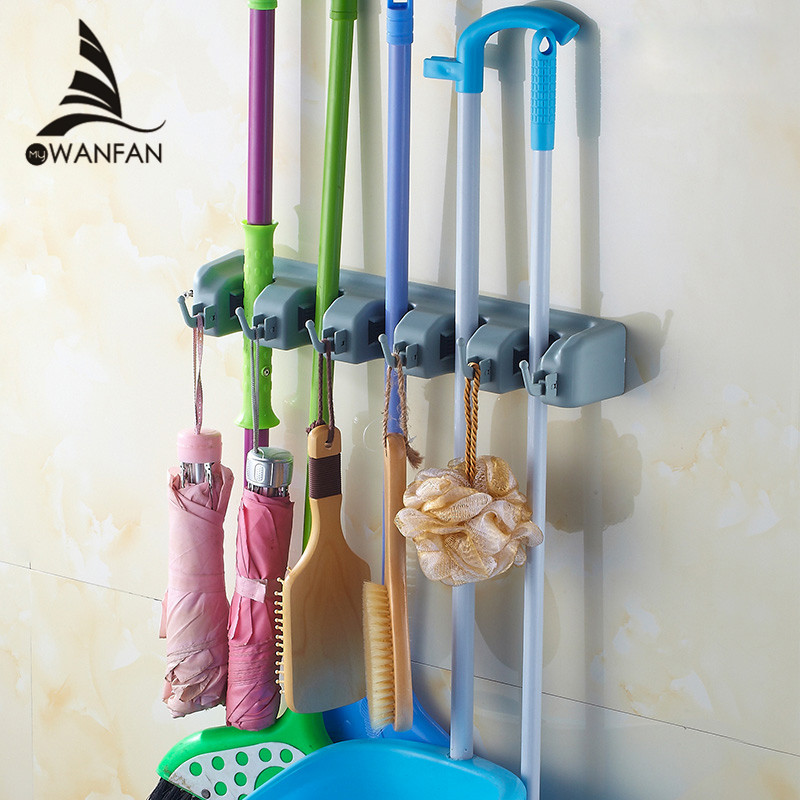 Bathroom Hardware Vidricshelves Wall Mount Plastic 5 Hang 6 Hooks Mop Shelf Balcony Broom Rack Washroom Multi-functional Storage Holder Wf-2562 Bathroom Fixtures