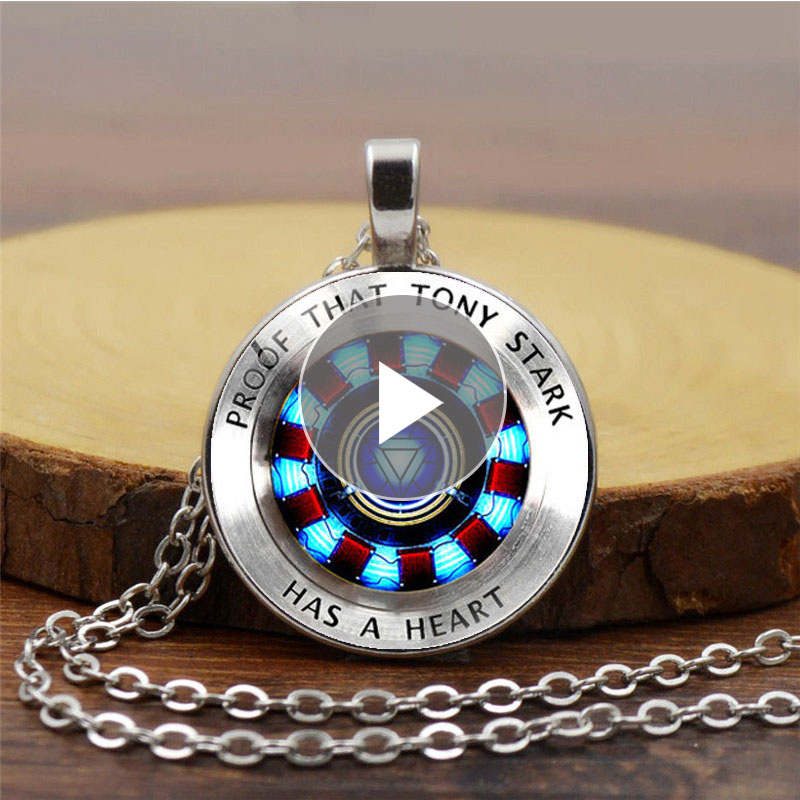 Iron Man Heart Time Toys Gemstone Necklace Poly Energy Glass Cabochon Pendant Tony Stark Arc Reactor Avengers First Aid Kits