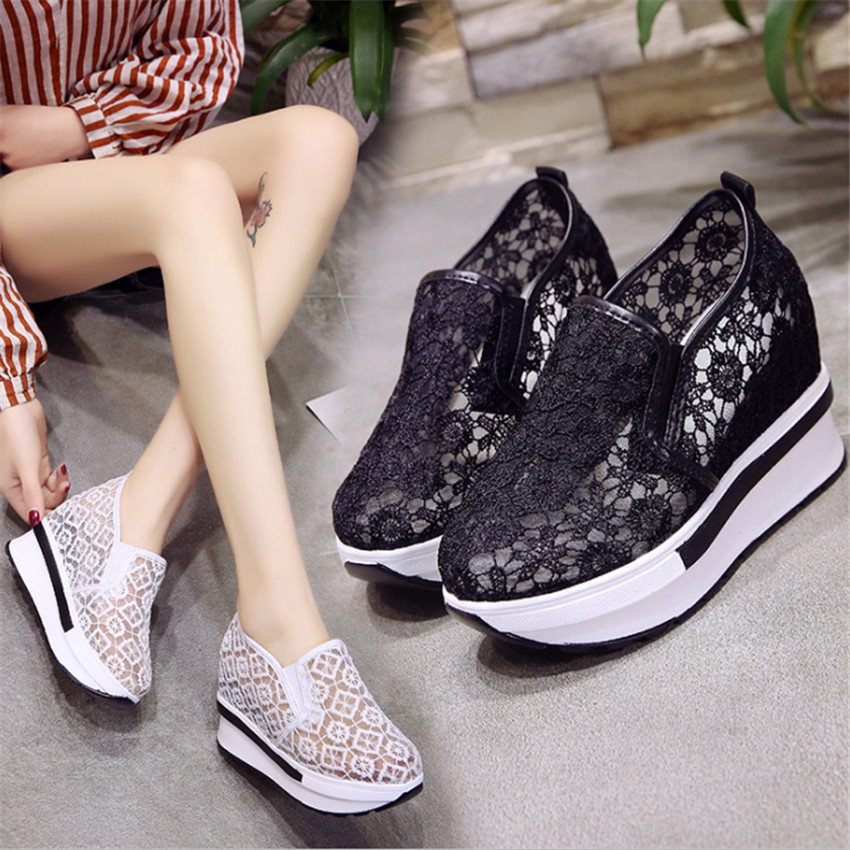 ZOUDKY 2018 summer increases the number of South Korean lace net lace gauze leisure heel and foot shoes