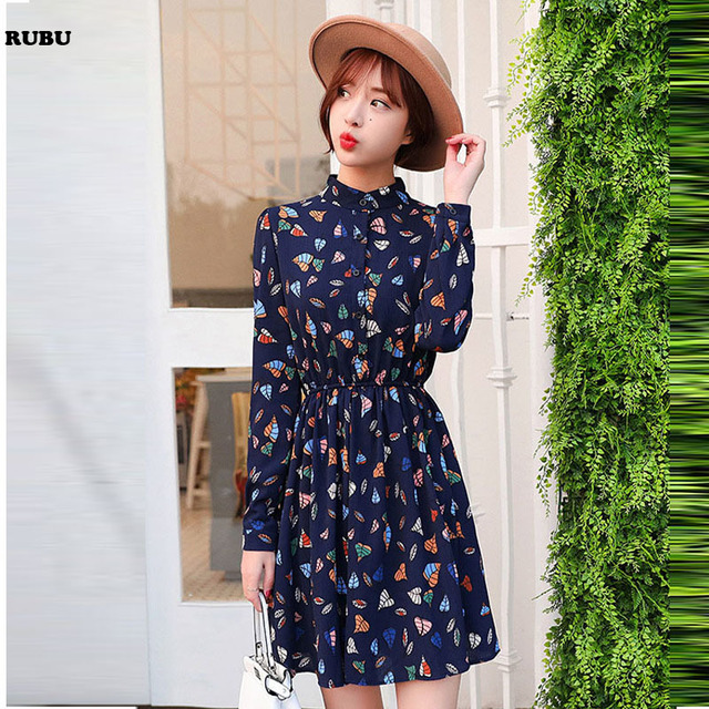 151adc0d36f03 US $17.52  2017 Korean Women Clothing Floral Print Dresses Women Spring  Black Tie Neck Long Flare Sleeve Casual A Line Dress-in Dresses from  Women's ...