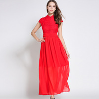 Summer Female Floor-Length Maxi Dress Vestidos Women Mandarin Collar Red Lace Party Dress Ladies Elegant Long Chiffon Dresses