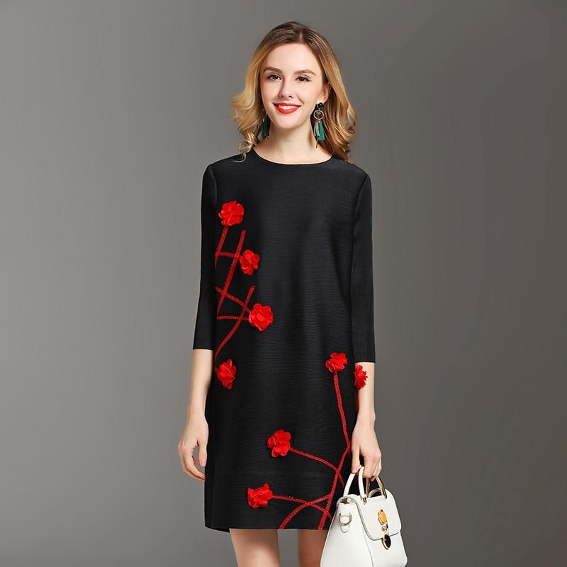 Porter 2019 Taille La Marée Floral Black Lâche Grande De Mode Habille Printemps blue Plissée red Femmes Nouvelle 8wkn0XPO