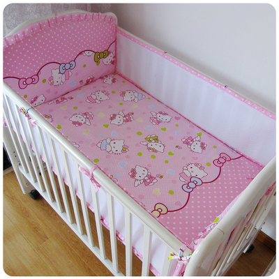 5PCS Mesh Cartoon Cotton Baby Bedding Sets Kit Berço Pattern Baby Bed Bumper Cot Bedding (4bumpers+sheet)
