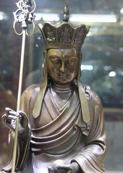 004238 Тибетский буддизм Бронзовый медный Тан монах Ksitigarbha Jizo король статуя бога Будды