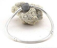 Compatible con la joyería europea de marca cilindro forma pulseras de plata con CZ 100% plata de ley 925 pulseras DIY venta al por mayor
