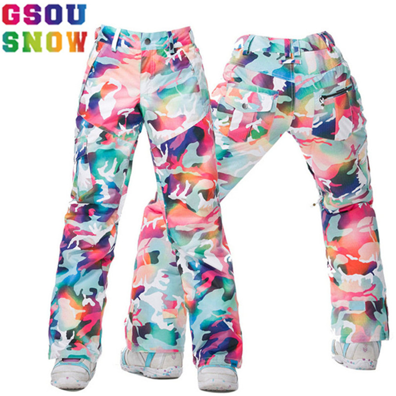 GSOU SNOW Brand Women Ski Pants Skis Trousers Waterproof Snowboard Pants Winter Outdoor Skiing Snowboarding Female Snow Clothes