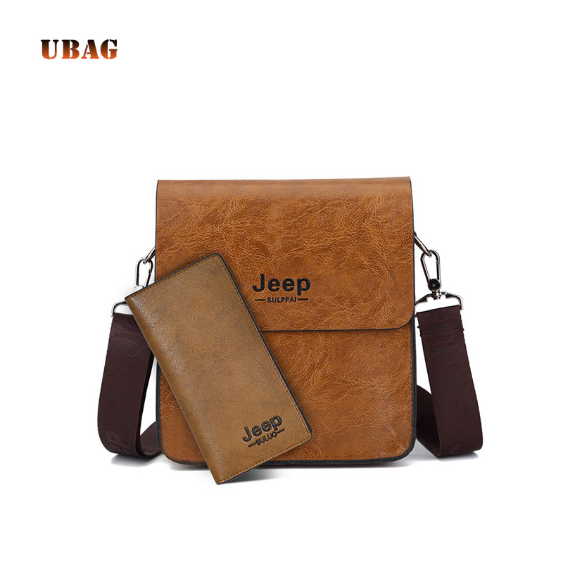 все цены на UABG Brand 2018 Men Messenger Bags Set Vintage PU Leather Business Shoulder Bag & Wallet High Quality Male Crossbody Bag For Men онлайн