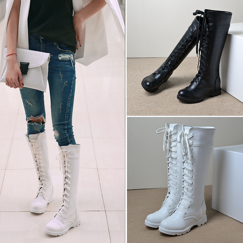 ФОТО Casual style Women boots Lace-Up Round Toe Knee-High boots Platform Square heel Knight boots Low heels cross-tied winter boots
