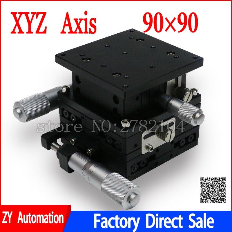 XYZ 3 Axes 90mm Étape Linéaire Coupe Plate-Forme Roulement Tuning Table Coulissante 90*90mm XYZ90-LM, LD90-LM2 double rail croisé