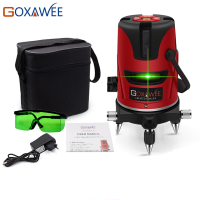 GOXAWEE 5 Laser Line 6 Points 360 Degree Green Red Laser Level Construction Tool Vertical Horizontal Rotary Cross 3D Laser Level