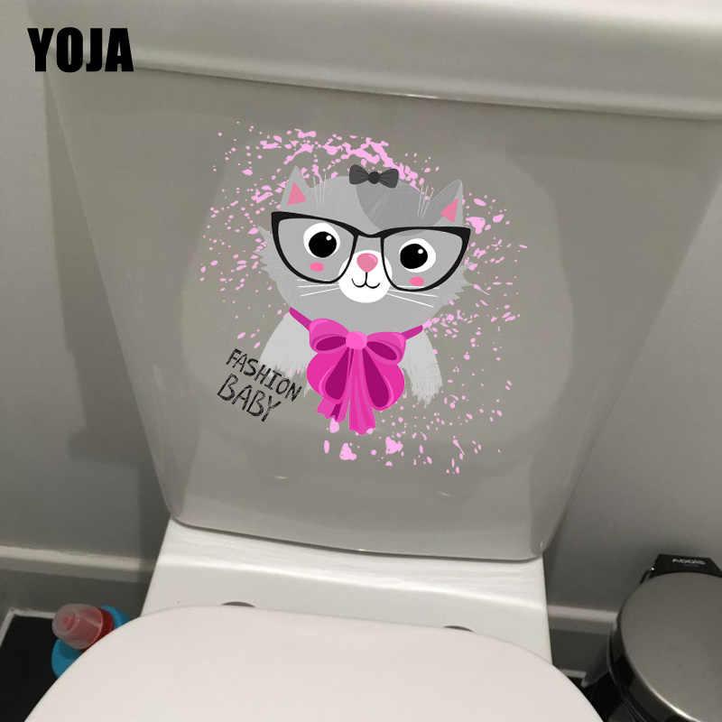 YOJA 22*22 เซนติเมตรแฟชั่นเด็กการ์ตูน Cat WC ห้องน้ำสติ๊กเกอร์ Decals ห้องนอนเด็กตกแต่งผนัง T1-0133
