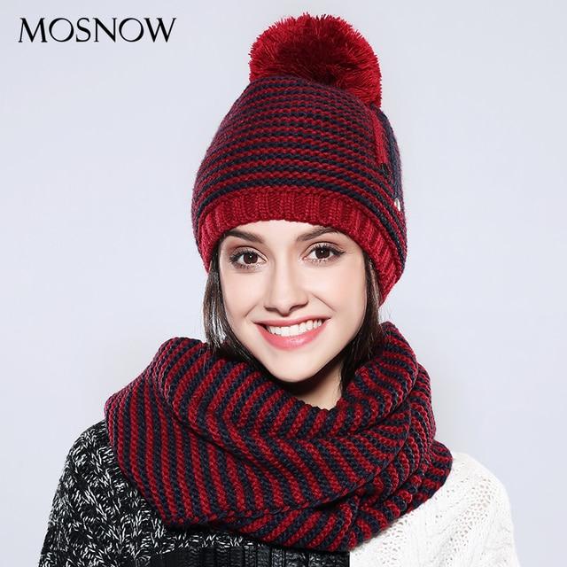 MOSNOW Mulheres Chapéu E Cachecol Conjunto de Algodão Listrado Acrílico Pompom  Gorros De Malha de Moda e8a163b9b60