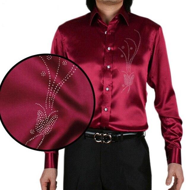 innovative design b5450 13ee5 US $39.98 |21 colori camisa masculina uomo camicie di seta lucido casuale  mens vestito della stampa della farfalla shirt da uomo slim maglie a manica  ...