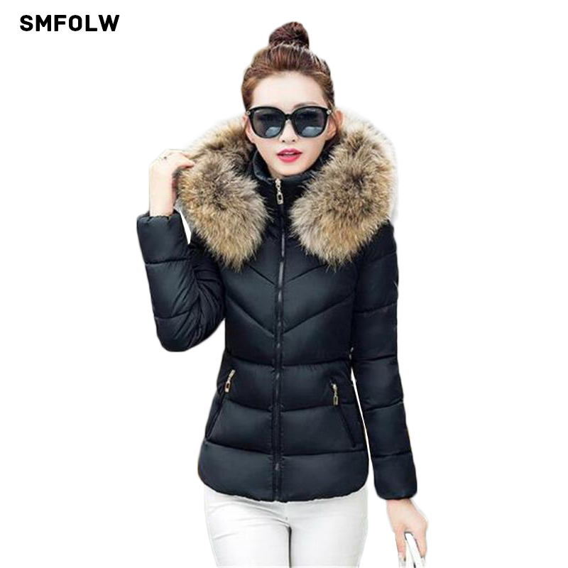 New 2017 Fashion spring Coat Women Artificial Raccoon Fur Collar Winter Warm Winter jackets Woman Parkas Outerwear Cotton Jacket 2017 winter new clothes to overcome the coat of women in the long reed rabbit hair fur fur coat fox raccoon fur collar