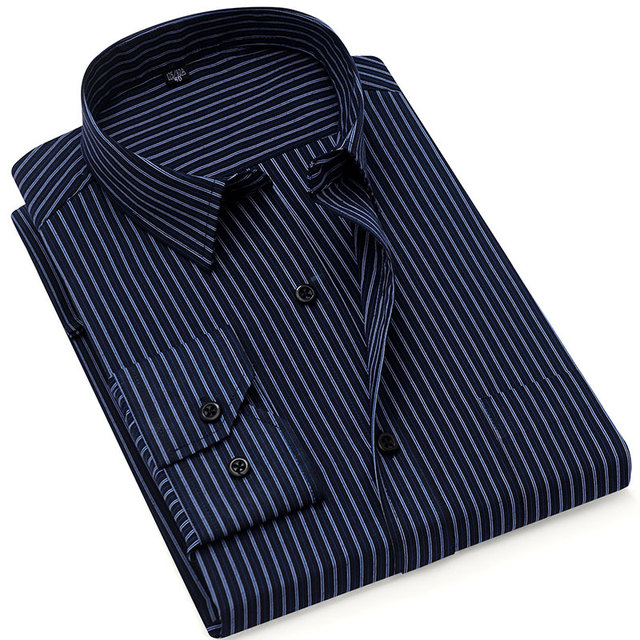 秋の新 2019 ストライプ男性ドレスシャツフォーマルなファッション長袖ブランドビジネス男性カジュアルシャツレギュラーフィットプラスサイズ 5XL 6XL