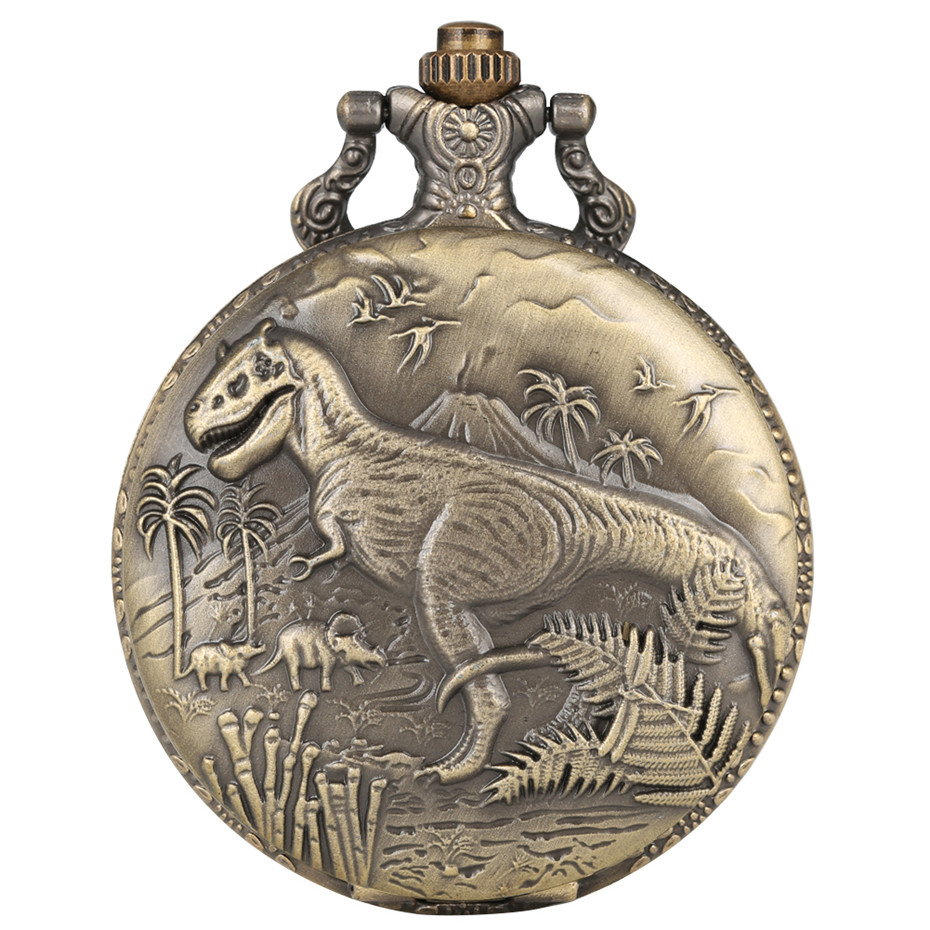 Punk Vintage Dinosaur Display Quartz Pocket Watch Cool Bronze Necklace Watch Unique Antique Pendant Clock Gifts For Boys Girls