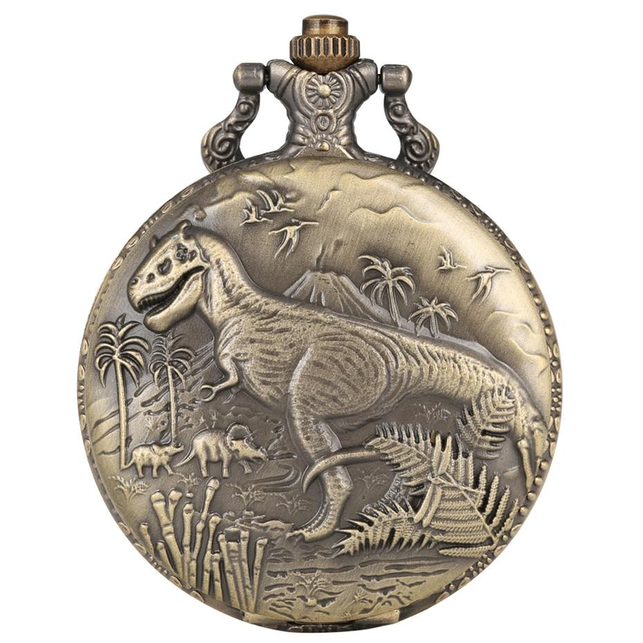 Punk Vintage Dinosaur Display Quartz Pocket Watch Cool Bronze Necklace Watch Unique Antique Pendant Clock Gifts For Boys Girls