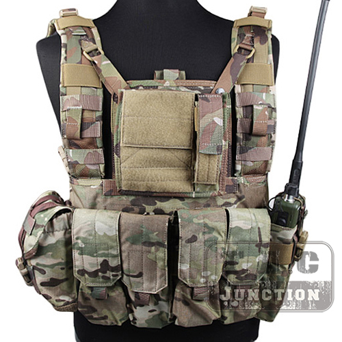 Emerson Tactical MOLLE Rhodesian Reconnaissance Vest RRV Chest Rig Multicam Panel Plate Carrier Lightweight Chest Rig w/ Pouches