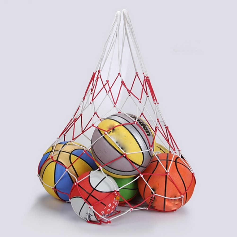 サッカーバスケットボールフープメッシュネット10ボール運ぶネットバッグスポーツポータブルボールバレーボール屋外耐久性標準ナイロン糸
