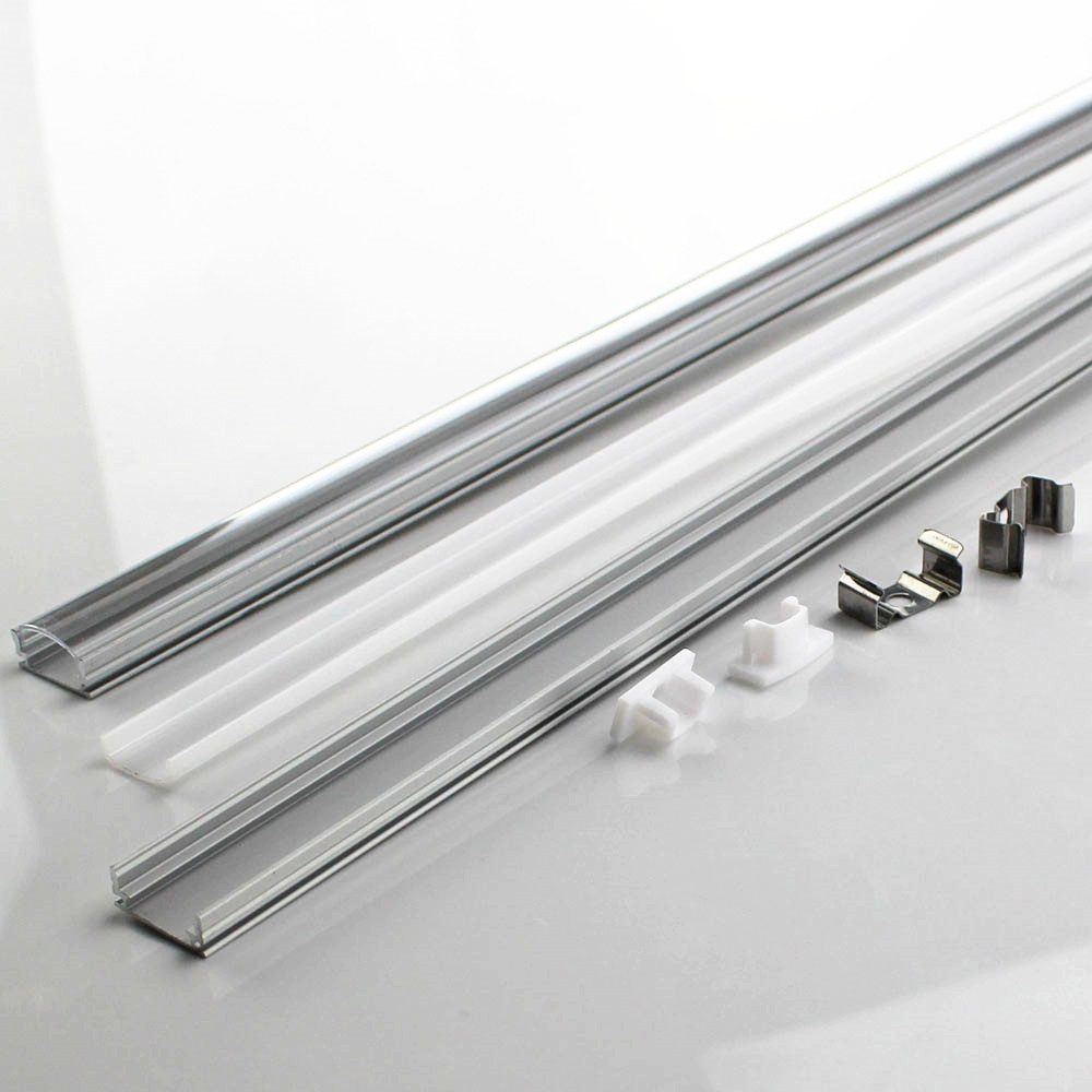 DHL 40-100 set/lot 0.5m 12mm strip led aluminium profile for led bar light, led aluminum channel flat aluminum housing free shipping super wide u shape aluminum anodized profile for led strips with cover and end caps for dual row led strip