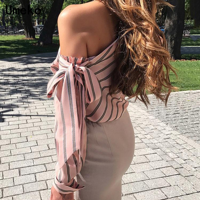 Striped Blouse One Shoulder Tops Sexy Long Sleeve Bow Shirts 1