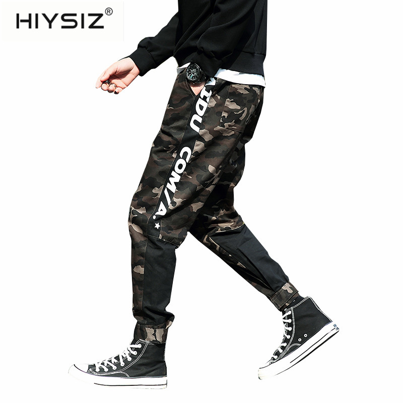 HIYSIZ  Pants New 2019 Disruptive Pattern Clashing Cargo Pants Casual Streetwear Feature Baggy Student Plus-size Slacks LP001(China)