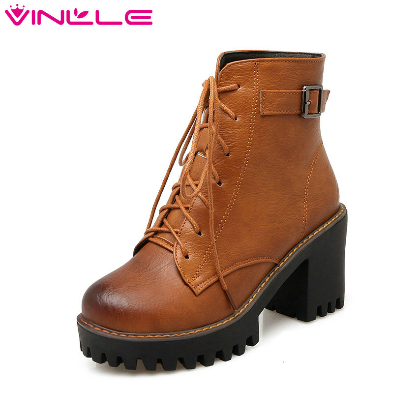 VINLLE 2016 PU Leather Women Motorcycle Boots Lace Up Punk Autumn  Women Shoes Square High Heel Buckle Ankle Boots  Size 34-43 naughtier than nice
