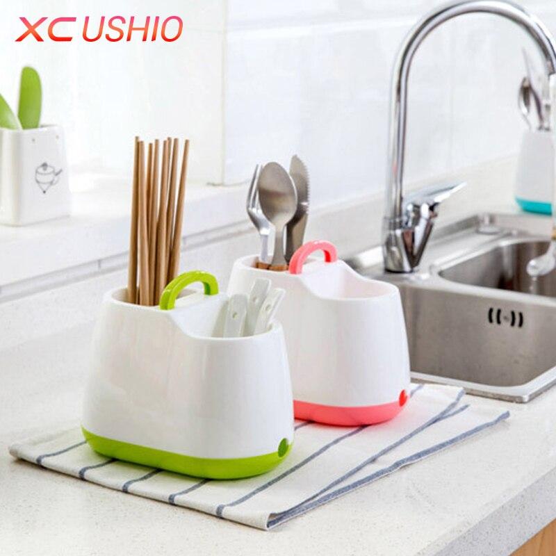 Home Küche Geschirr Ablassen Rack Stäbchen Löffel Gabel Aufbewahrungsbox Besteckhalter Abnehmbare Abtropffläche Sieb
