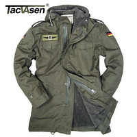 German Army Outdoor Military Jacket Men Winter Cotton Jacket Thermal Trench With Hood Outdoor Wadded Jackets