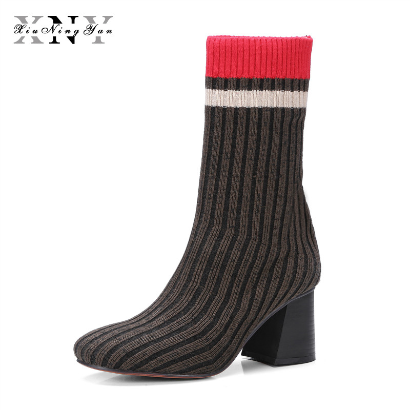 XIUNINGYAN Women's Boots Round Toe Elastic Ankle Boots Thick Heel High Heel Shoe Woman Female Fashion Stretch Socks Boots Winter xiuningyan women s boots round toe elastic ankle boots thick heel high heel shoe woman female fashion stretch socks boots winter