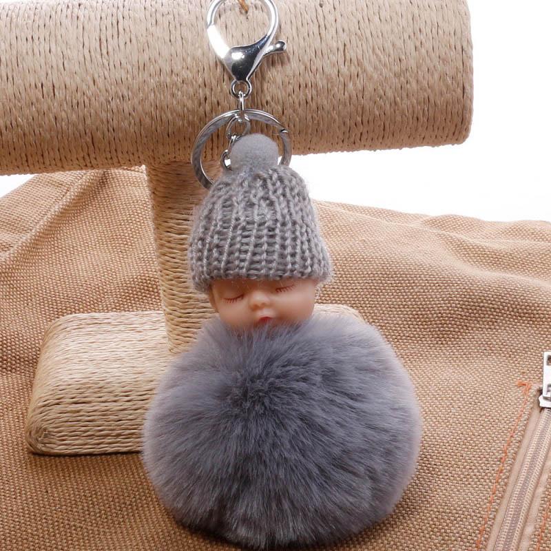 Cute 2018 fashion sleepy doll faux fur pom pom keychain bag purse car decoration pendant