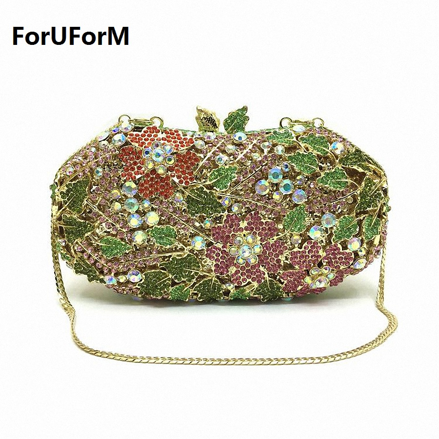ForUForM Women Evening Party Wedding Bag Bright High-end Diamond Female Day Clutches Ladies Small Chains Hasp Handbags LI-1574 yuanyu 2018 new hot free shipping real python leather women clutch women hand caught bag women bag long snake women day clutches