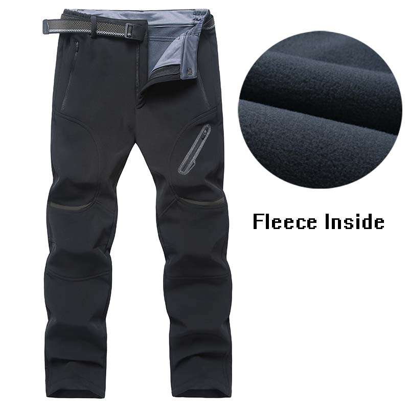 Big Size 7XL 8XL 9XL Men Hiking Pants Soft Shell Mens Outdoors Trousers Fleece Lining Keep Warm Winter Hiking Camping Pant Male