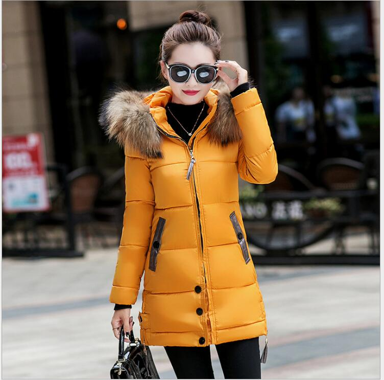 Burst 2017 autumn and winter new thickening warm self-cultivation down jacket cotton in the long section of the hooded large sky blue cloud removable hat in the long section of cotton clothing 2017 winter new woman