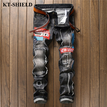 Fashion Men Jeans Biker Ripped Mens Brand designer Denim Trousers Masculina Vintage Slim fit Men Jean Pans Pantalones Homme