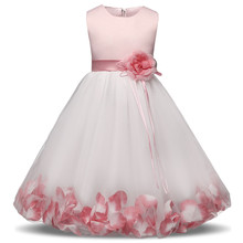 New Dress 2018 Tulle Gray Baby Flower Girl Wedding Dress Fluffy Ball Gown Birthday Clothing Tutu Party Dress new cute white lace pink fluffy tulle baby girls birthday party gown ankle length with big bow 2018 flower girl dress any size
