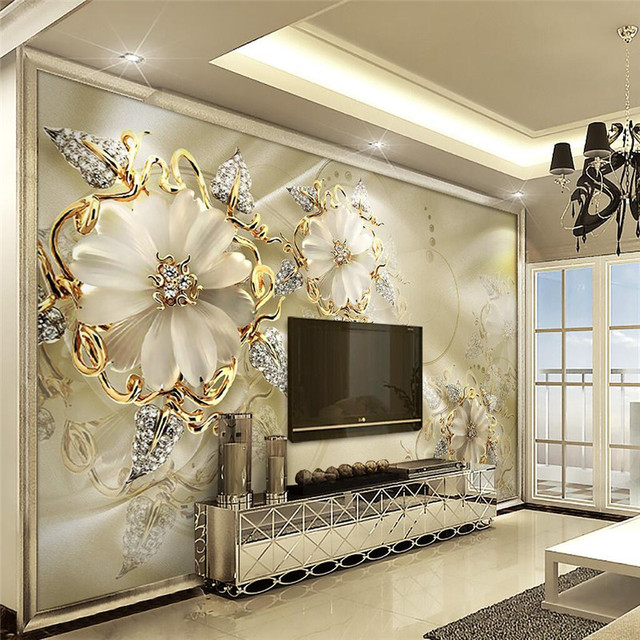 Wall Panels For Living Room Navy Blue Couch Ideas Panel Wallpaper Marble Diamond Jewelry Rose Background Modern Europe Art Mural Large Painting Home Decor
