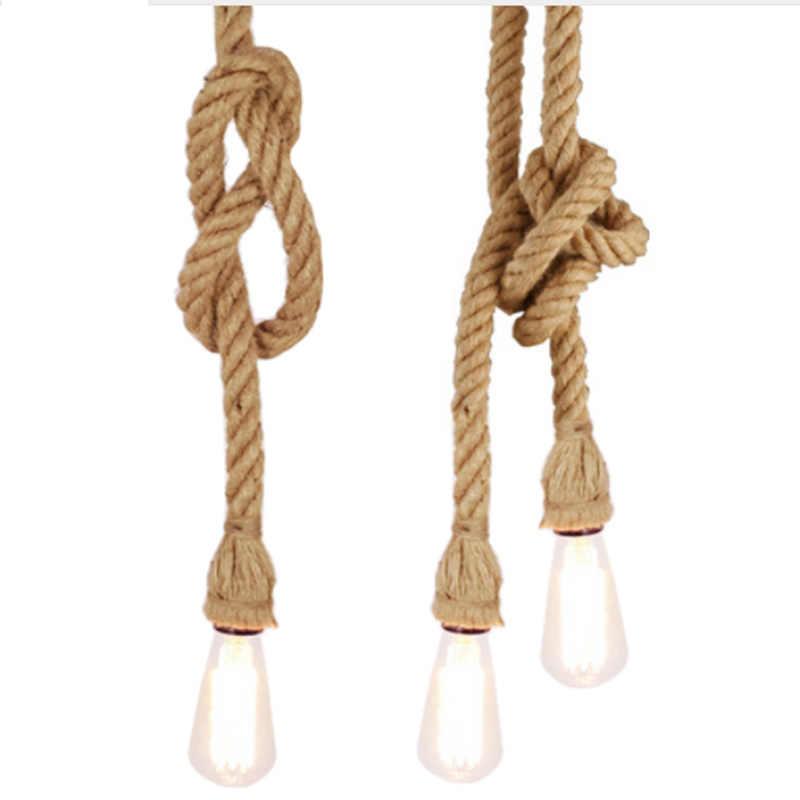 Винтаж веревки подвесные светильники Лофт Творческий промышленный светильник E27 лампочка Эдисона Американский Стиль для ресторана/бар украшения дома