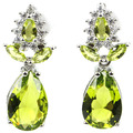 Elegant Drop Green Peridot, White CZ SheCrown Created Woman's Party  Silver Stud Earrings 18x8mm