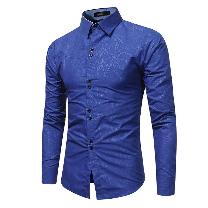 2017 Mode Männlichen Königsblau Shirt Lange Ärmel Tops 3d Geometrische Druck Freizeithemd Business-männer Hemden Schlank