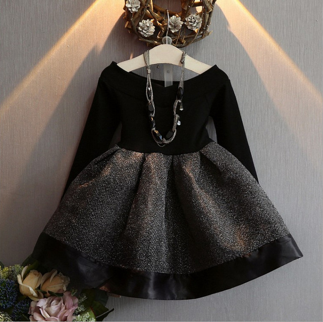 2018 אביב אופנה ילדה נסיכת שמלת מסיבת חתונה שמלות ילד קוריאני שחור Shoulderles ארוך שרוולים רשת נסיכת שמלת 2 7Y