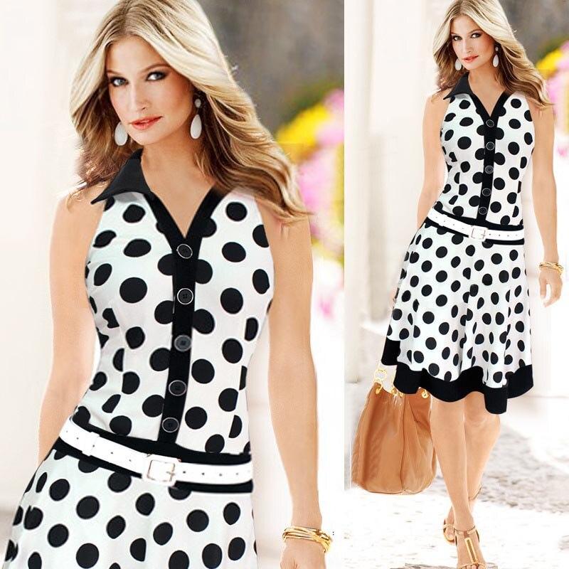Fashion Spring Summer Black and White Women Fashion Polka Dot Sleeveless V-neck Print  Dresses (Belt is not included)  #75 short dresses office wear